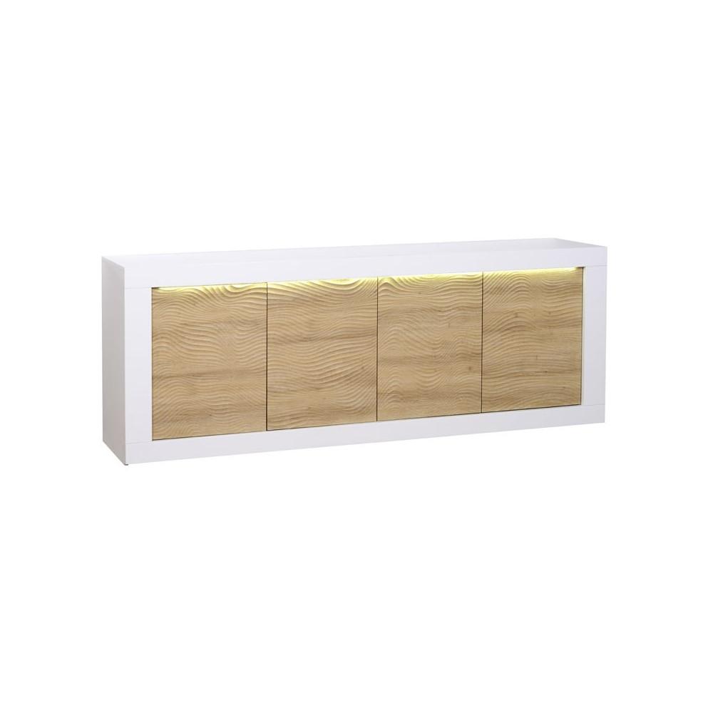 Buffet 4 portes Blanc/Chêne clair à LEDs - MARKS