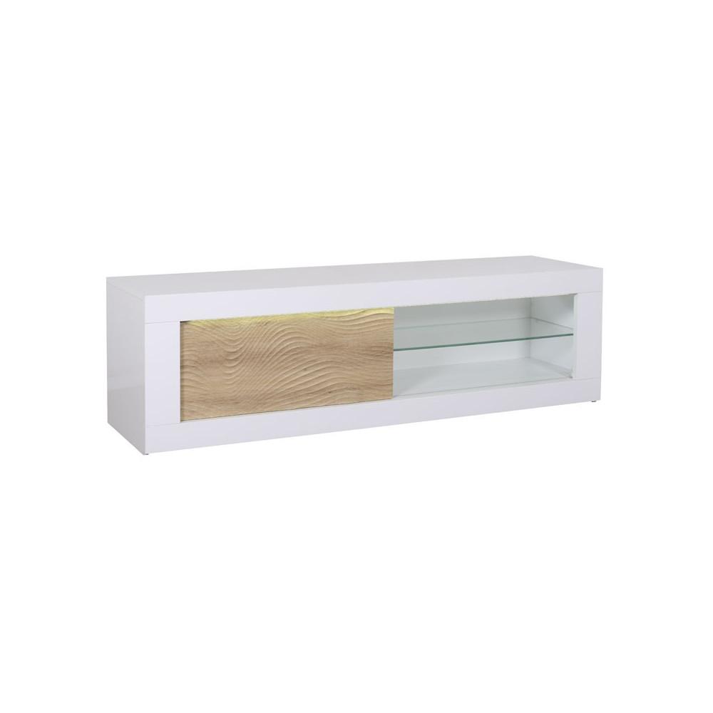 meuble tv 1 porte coulissante blanc ch ne clair leds. Black Bedroom Furniture Sets. Home Design Ideas