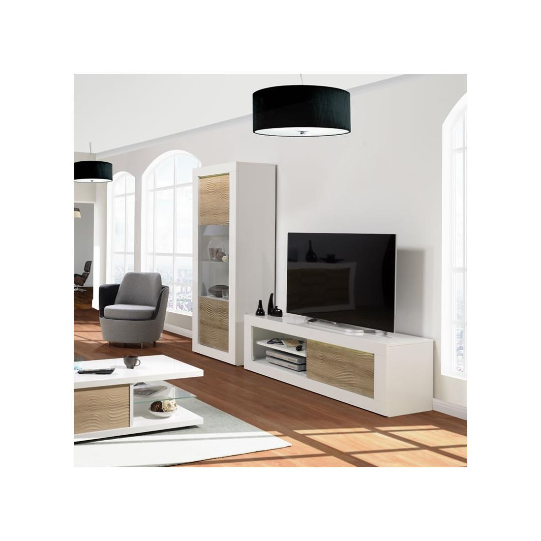 Meuble Tv 1 Porte Coulissante Blanc Chene Clair A Leds Marks Salon