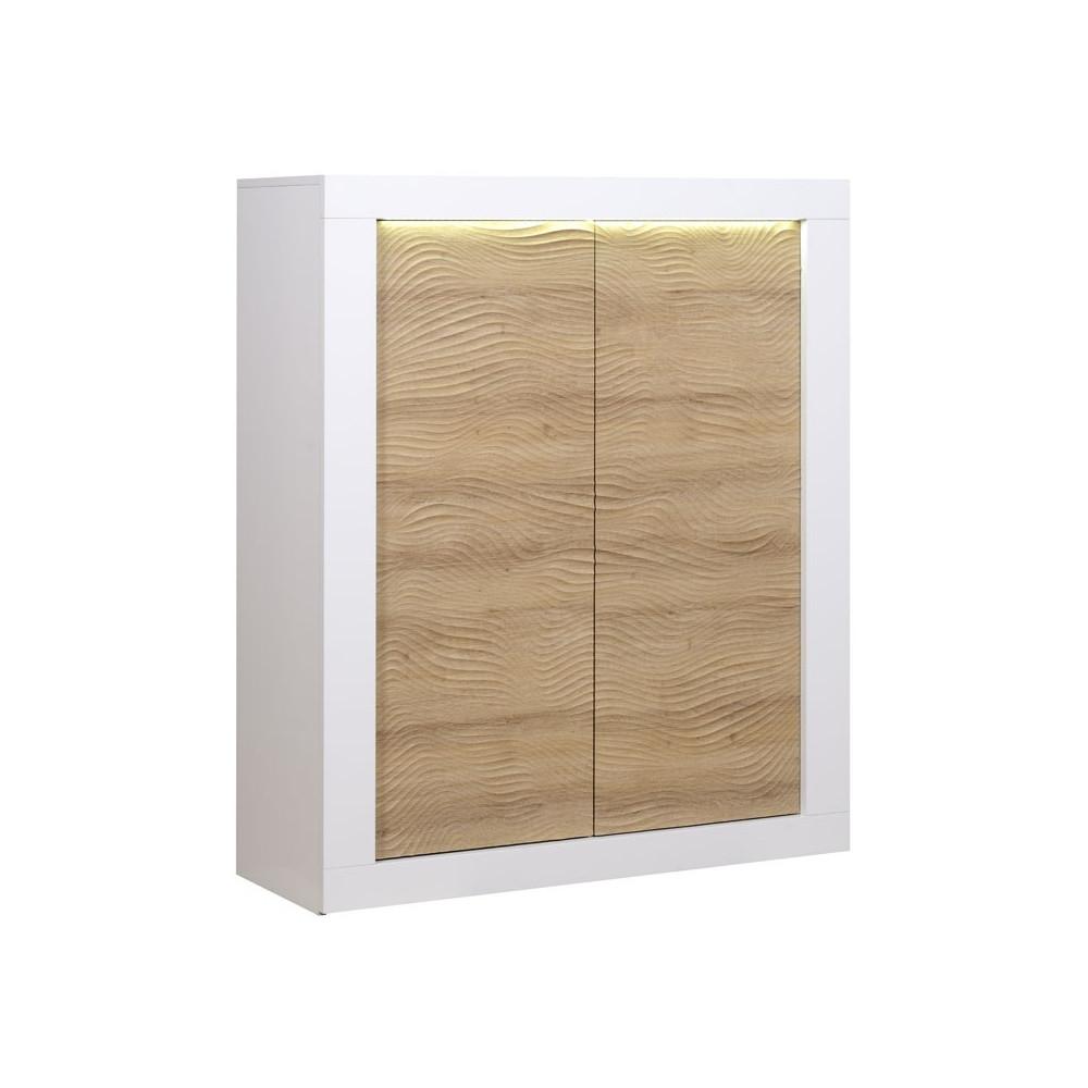 Vaisselier 2 portes Blanc/Bois à LEDs moderne - Univers Salle à Manger : Tousmesmeubles