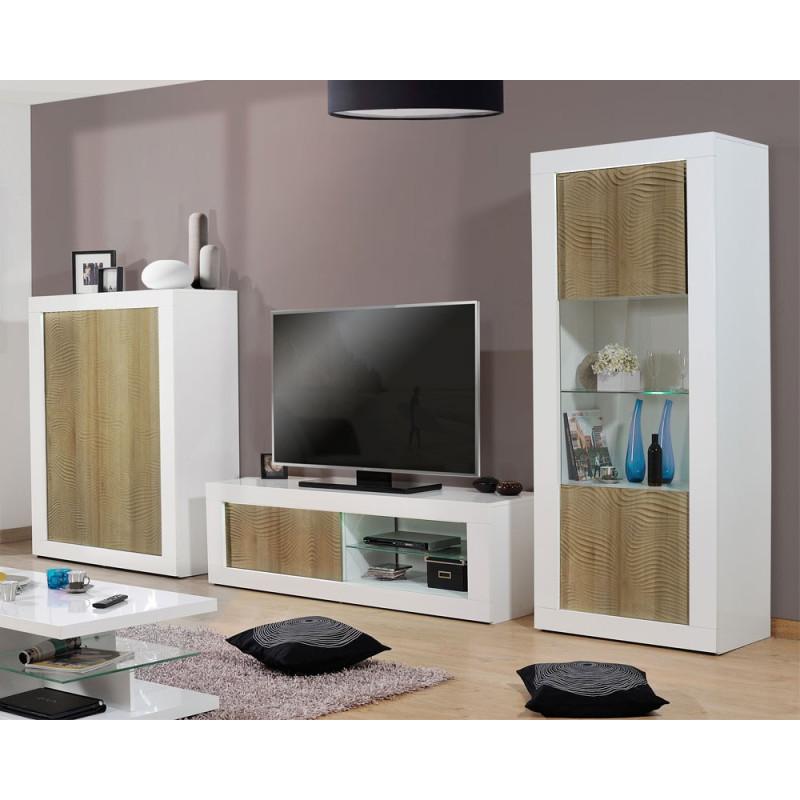 Composition TV Blanc/Chêne clair à LEDs - MARKS