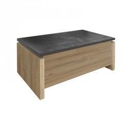 Table basse relevable Bois clair Gris béton contemporain - Univers Salon : Tousmesmeubles