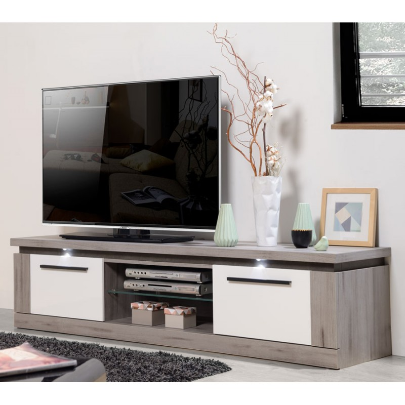 meuble tv 2 portes 1 niche bois gris laque blanche nova. Black Bedroom Furniture Sets. Home Design Ideas