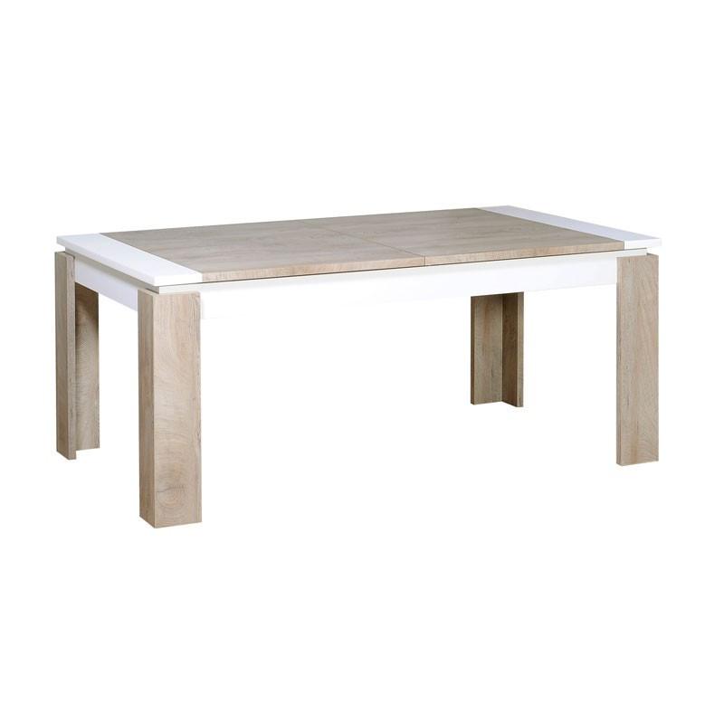 Table de repas à allonge bois délavé blanc contemporain - Univers Salle à Manger : Tousmesmeubles