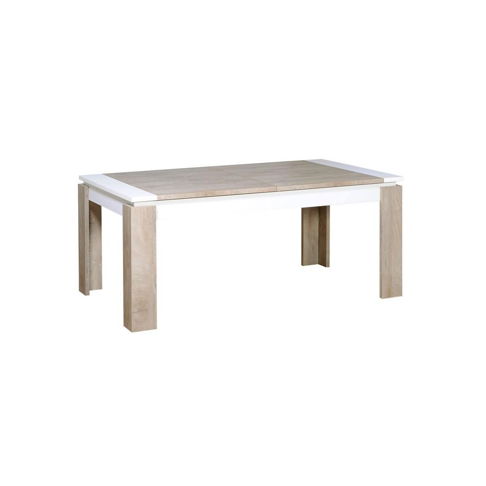 Table de repas à allonge Chêne délavé/Blanc mat - FLORINE