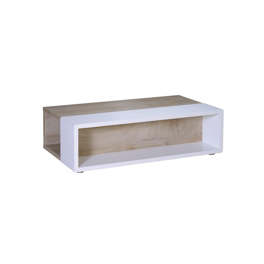 Table basse Bois délavé Blanc moderne - Univers Salon : Tousmesmeubles