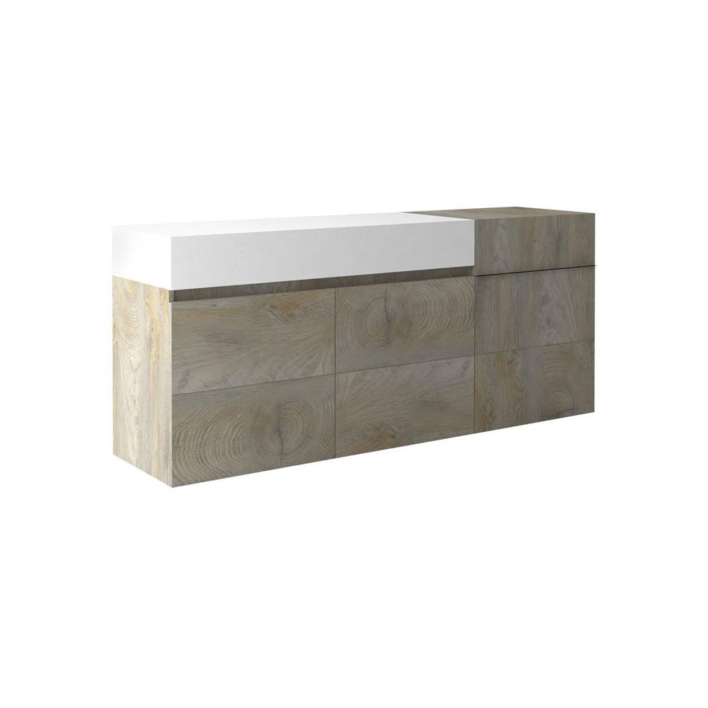 Buffet 3 portes 1 tiroir Chêne délavé/Blanc mat - FLORINE