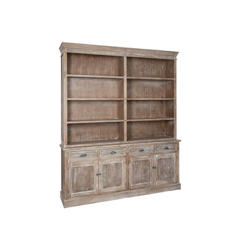 Bibliothèque 4 portes 4 tiroirs Bois blanchi - DRINK
