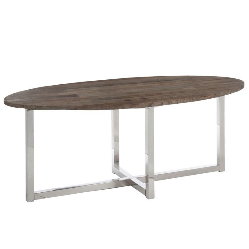 Table de repas ovale Bois/Inox - CLEMENCE