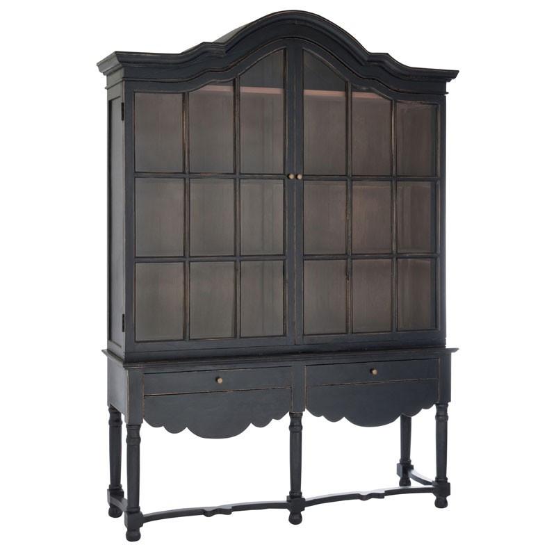 Vitrine 2 portes 2 tiroirs Noire - LOUISE