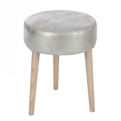 Tabouret rond Cuir argent - GLOWY