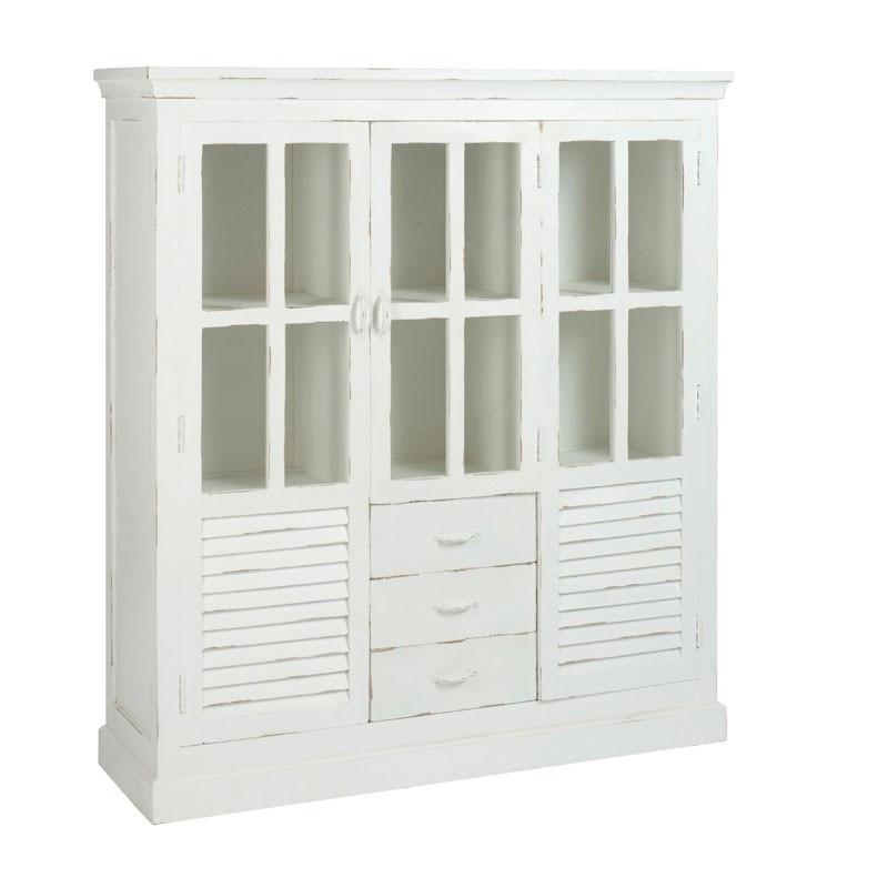 Vitrine 2 portes en bois teinté Blanc - FACTORY