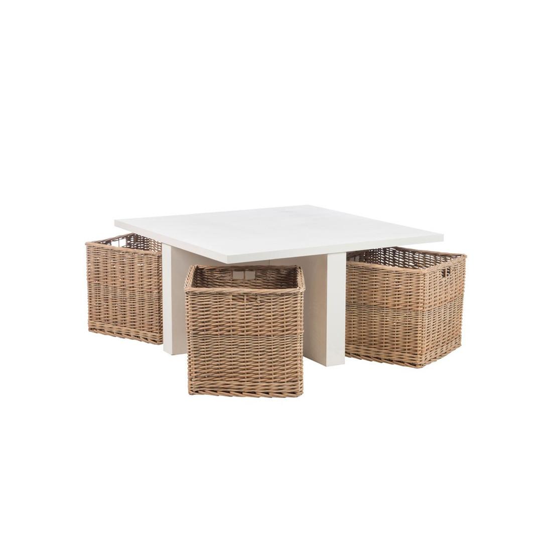 table basse avec 4 paniers en osier marin univers du salon. Black Bedroom Furniture Sets. Home Design Ideas
