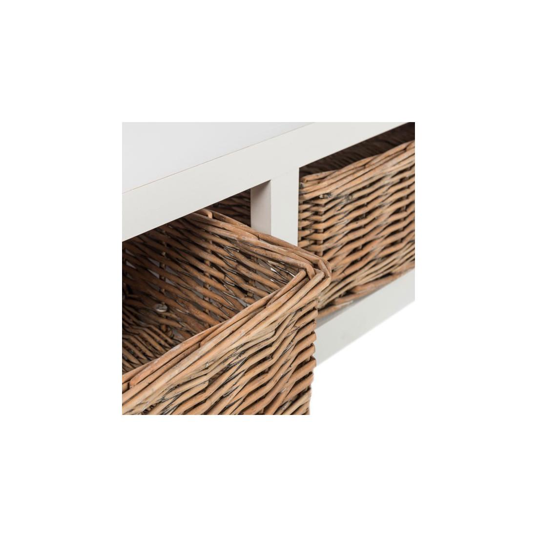 table basse rectangulaire 2 paniers en osier marin. Black Bedroom Furniture Sets. Home Design Ideas