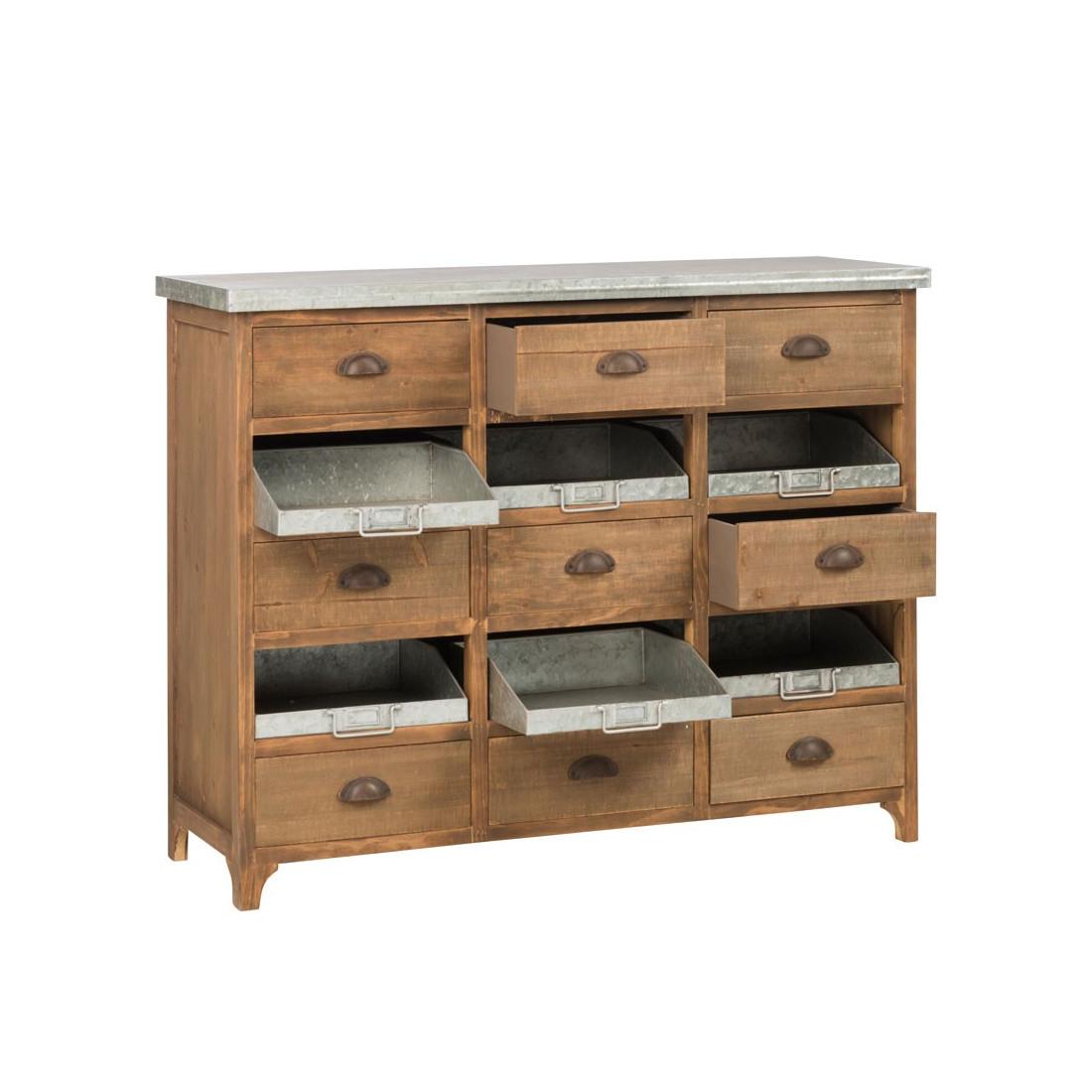 Meuble d 39 entr e bois m tal 15 tiroirs irona univers petits meubles - Meuble entree bois ...
