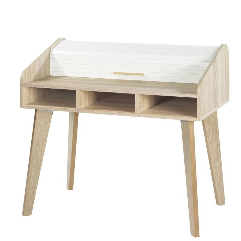 Bureau à rideau scandinave bois clair blanc ARKOS n°5 - Univers Bureau : Tousmesmeubles