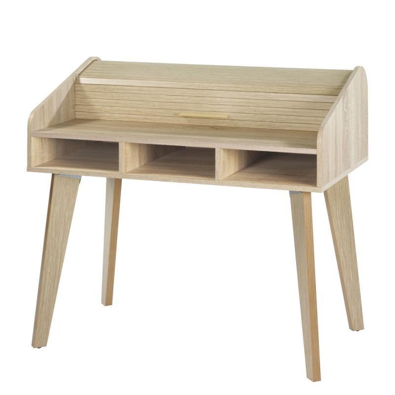 Bureau à rideau bois clair scandinave ARKOS n°6 - Univers Bureau : Tousmesmeubles