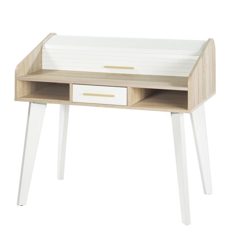 Bureau à rideau 1 tiroir scandinave bois clair blanc ARKOS n°2 - Univers Bureau : Tousmesmeubles