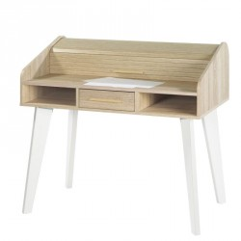 Bureau à rideau 1 tiroir scandinave blanc bois clair ARKOS n°3 - Univers Bureau : Tousmesmeubles