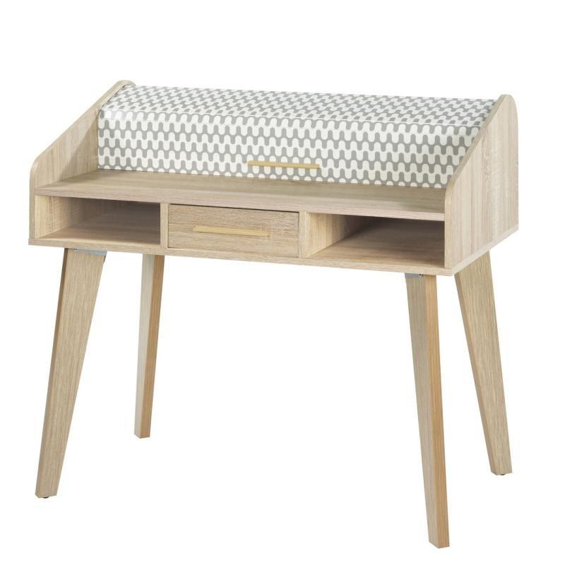 Bureau à rideau 1 tiroir scandinave bois motifs ARKOS n°4 - Univers Bureau : Tousmesmeubles