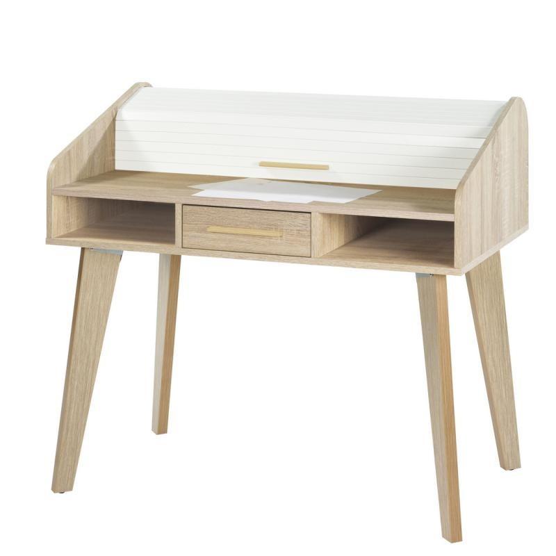 Bureau à rideau 1 tiroir scandinave bois clair blanc ARKOS n°5 - Univers Bureau : Tousmesmeubles