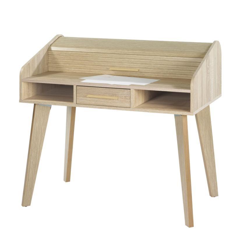 Bureau à rideau 1 tiroir bois clair scandinave ARKOS n°5 - Univers Bureau : Tousmesmeubles