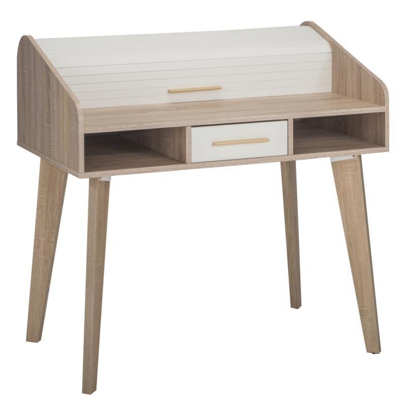 Bureau à rideau 1 tiroir scandinave bois clair blanc ARKOS n°7 - Univers Bureau : Tousmesmeubles