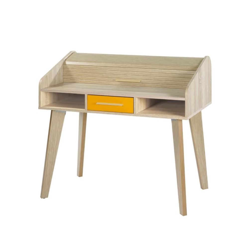 Bureau à rideau 1 tiroir scandinave bois orange ARKOS n°7 - Univers Bureau : Tousmesmeubles