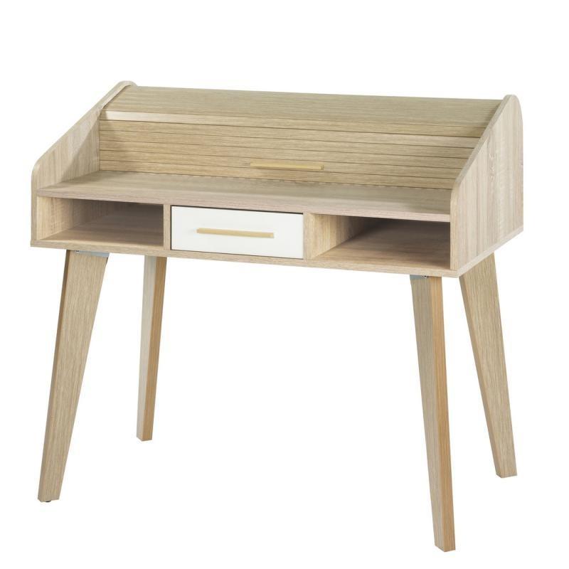 Bureau à rideau 1 tiroir scandinave bois blanc ARKOS n°10 - Univers Bureau : Tousmesmeubles