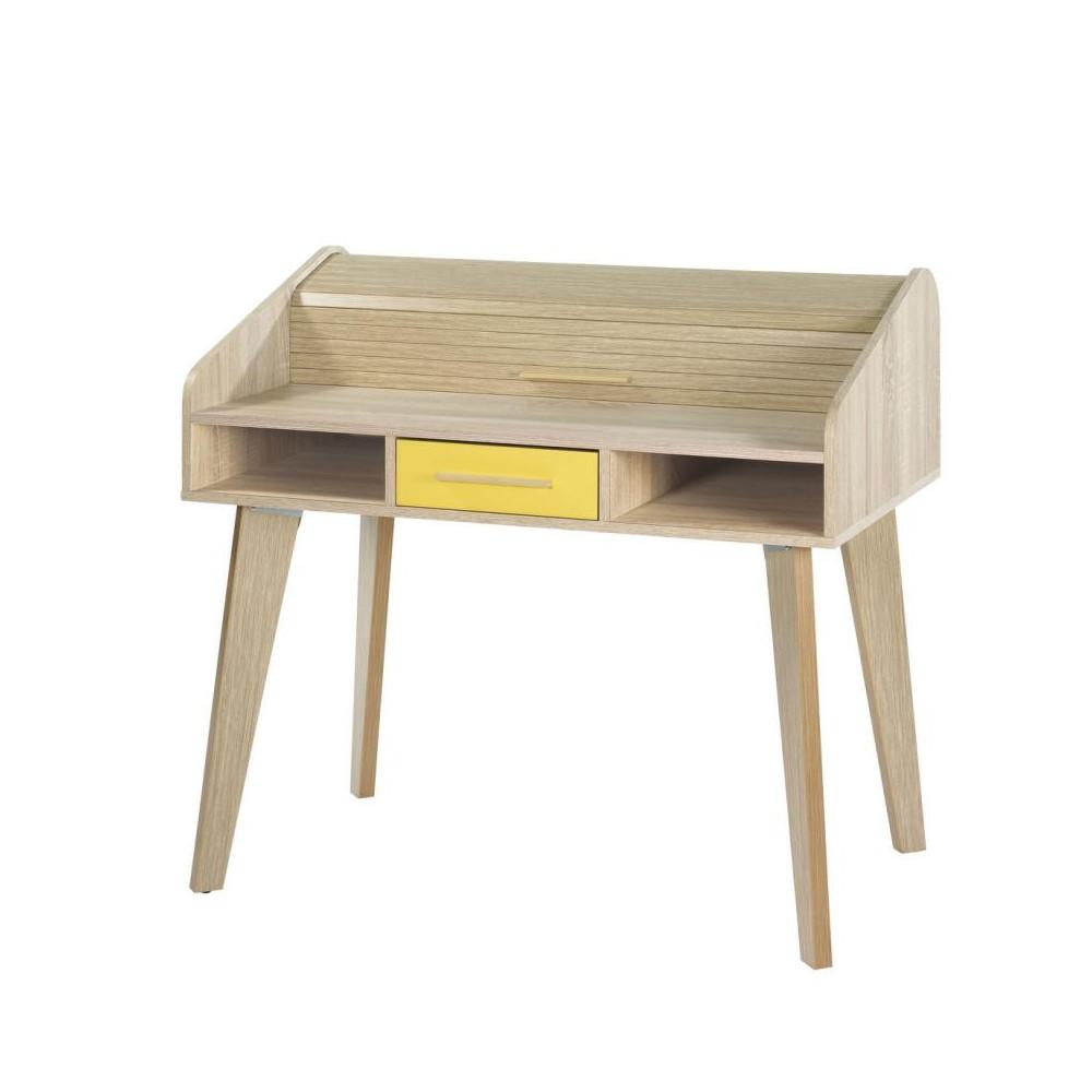 Bureau à rideau 1 tiroir scandinave bois jaune ARKOS n°11 - Univers Bureau : Tousmesmeubles