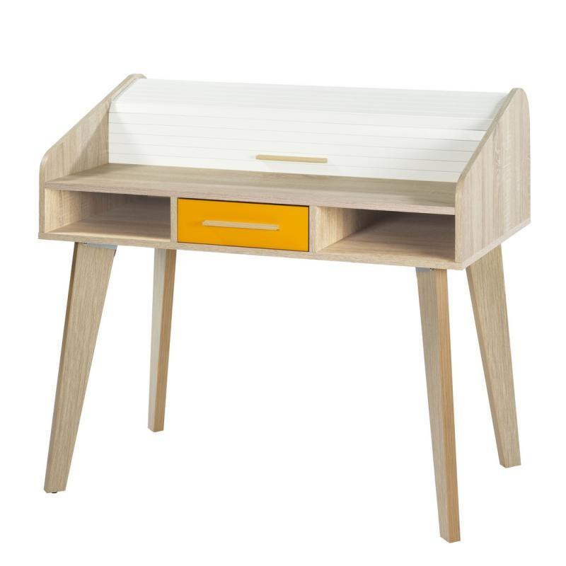 Bureau à rideau 1 tiroir scandinave orange ARKOS n°12 - Univers Bureau : Tousmesmeubles