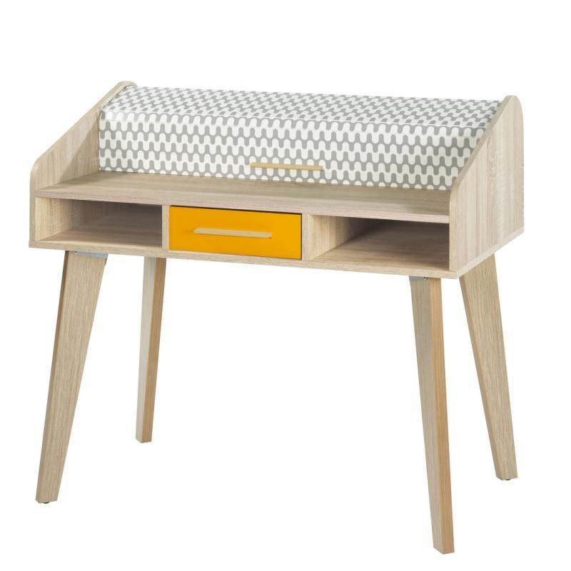 Bureau à rideau 1 tiroir scandinave motifs orange ARKOS n°13 - Univers Bureau : Tousmesmeubles