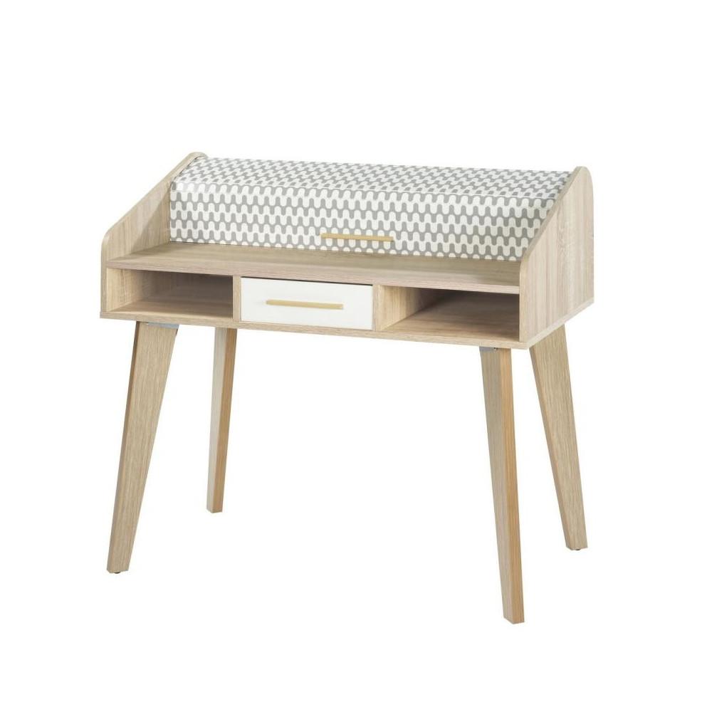 Bureau à rideau 1 tiroir scandinave bois clair blanc ARKOS n°15 - Univers Bureau : Tousmesmeubles