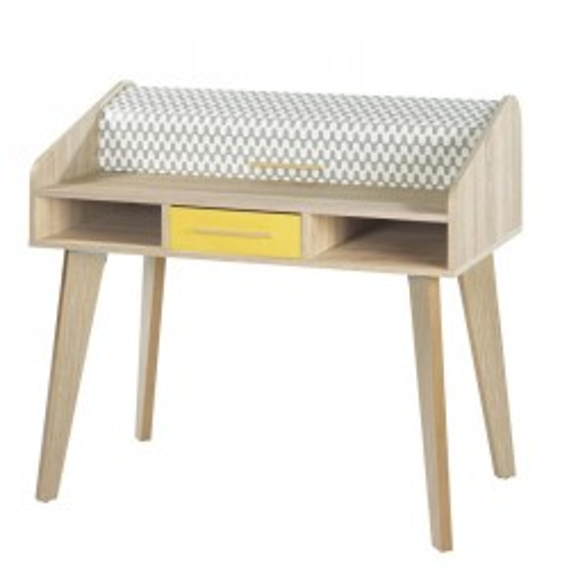 Bureau à rideau 1 tiroir scandinave motifs jaune ARKOS n°14 - Univers Bureau : Tousmesmeubles