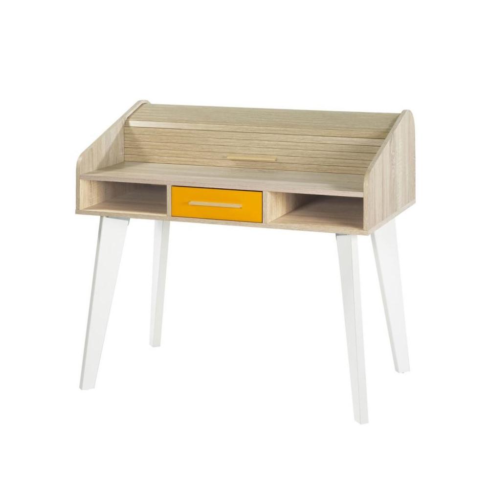 Bureau à rideau 1 tiroir scandinave bois blanc orange ARKOS n°16 - Univers Bureau : Tousmesmeubles