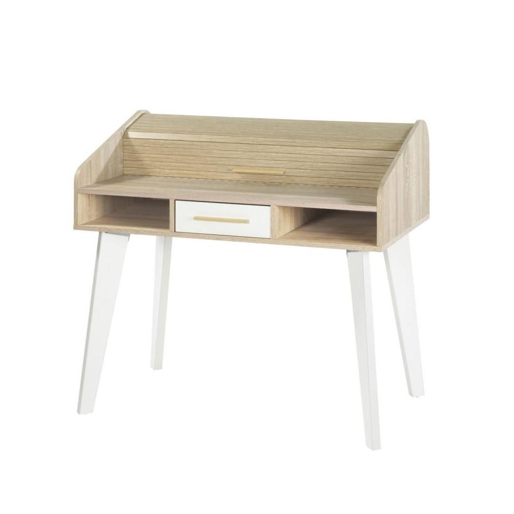 Bureau à rideau 1 tiroir scandinave bois clair blanc ARKOS n°17 - Univers Bureau : Tousmesmeubles