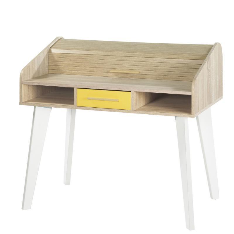 Bureau à rideau 1 tiroir bois clair jaune scandinave ARKOS n°18 - Univers Bureau : Tousmesmeubles