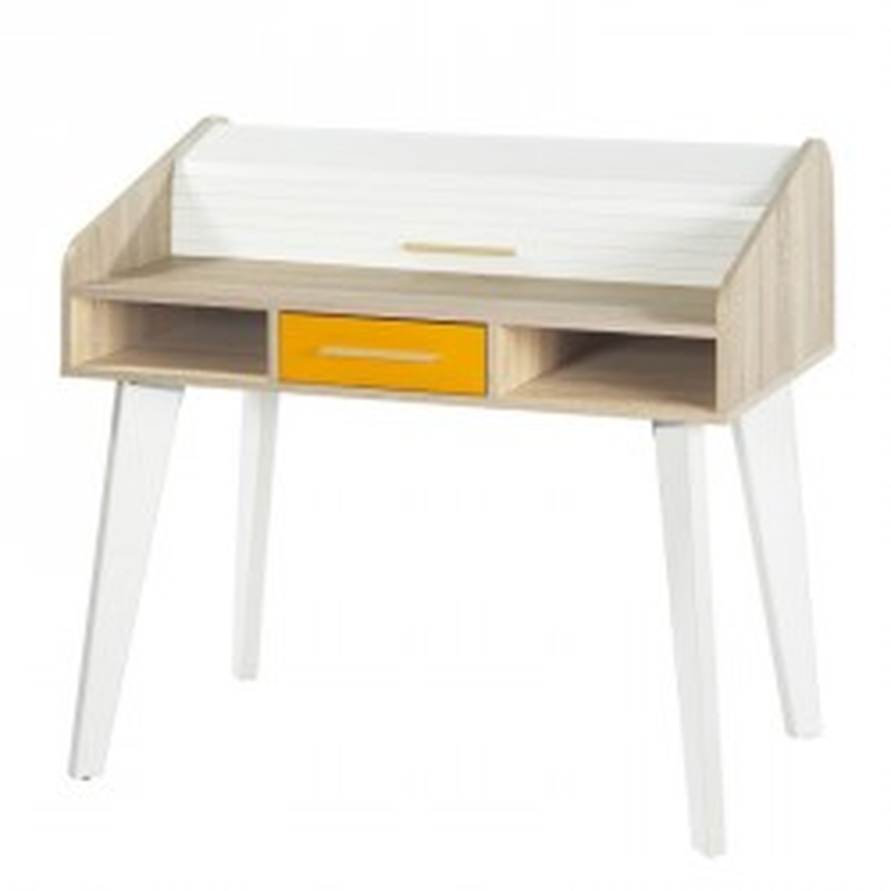 Bureau à rideau 1 tiroir scandinave orange bois blanc ARKOS n°19 - Univers : Tousmesmeubles