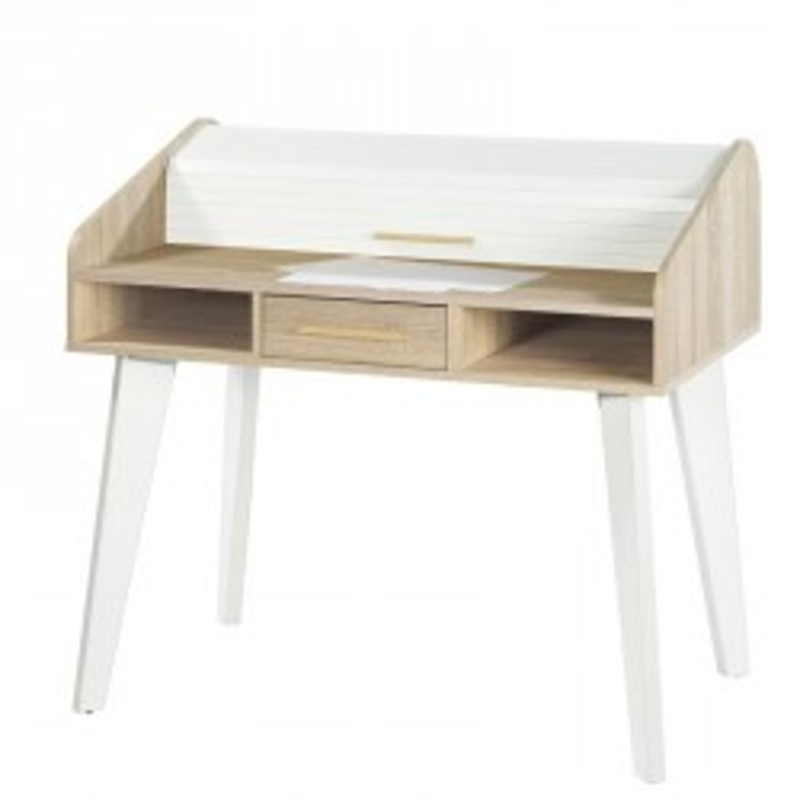 Bureau à rideau 1 tiroir bois clair blanc scandinave ARKOS n°20 - Univers Bureau : Tousmesmeubles