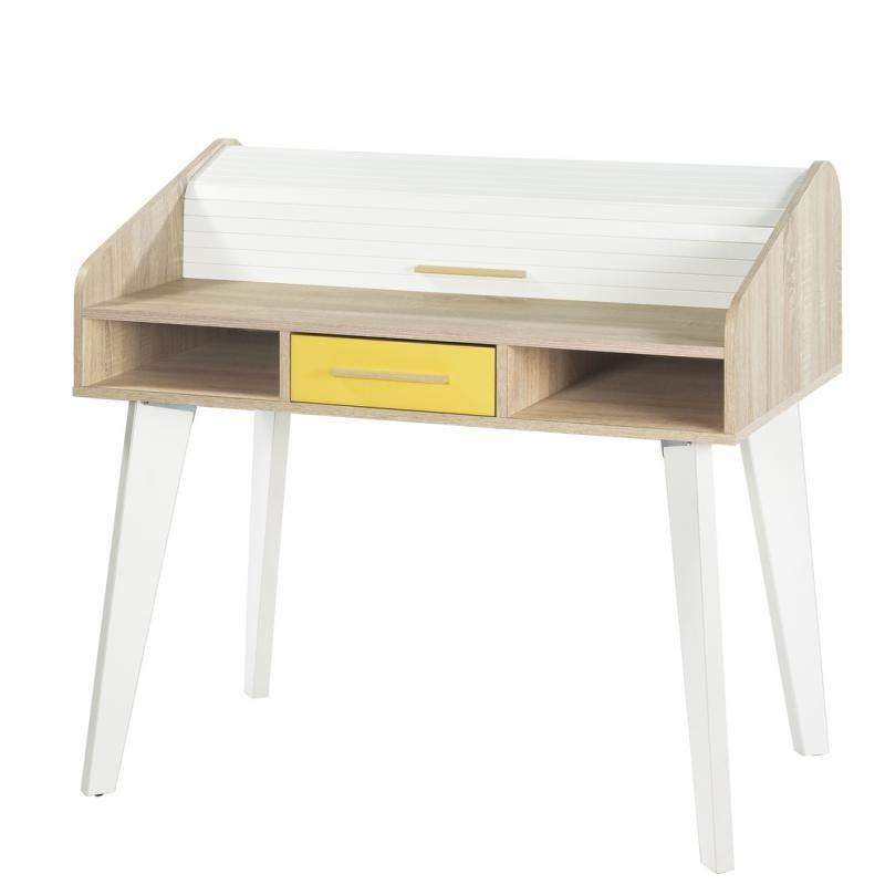 Bureau à rideau 1 tiroir jaune bois blanc scandinave ARKOS n°21 - Univers Bureau : Tousmesmeubles