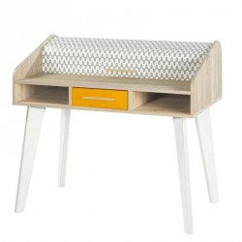 Bureau à rideau 1 tiroir orange bois blanc scandinave ARKOS n°22 - Univers Bureau : Tousmesmeubles