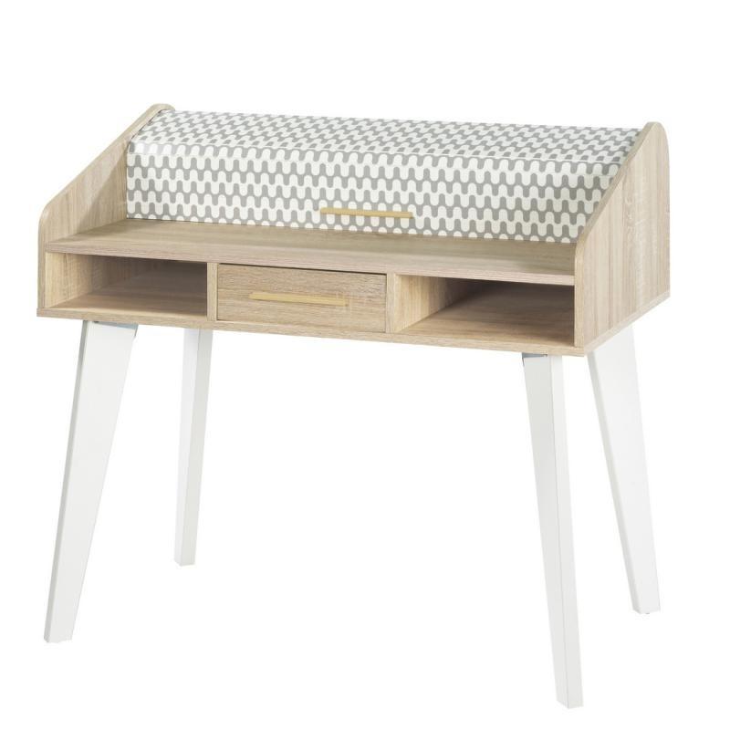 Bureau à rideau 1 tiroir scandinave motifs bois blanc ARKOS n°23 - Univers Bureau : Tousmesmeubles