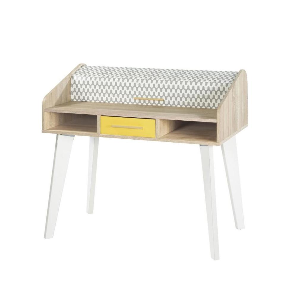 Bureau à rideau 1 tiroir motifs blanc jaune bois scandinave ARKOS n°24 - Univers Tousmesmeubles