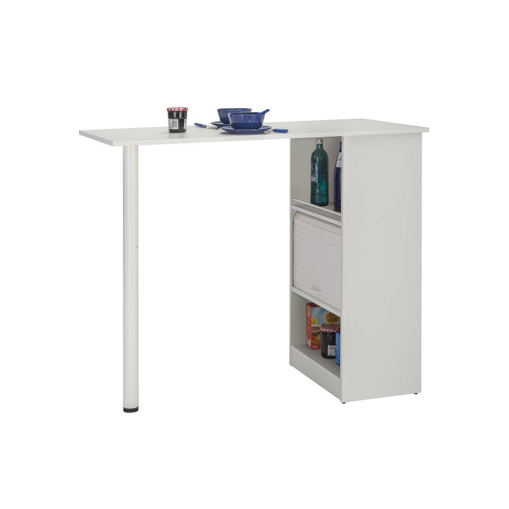 Table comptoir de cuisine à rideau rangement blanc - Univers Cuisine : Tousmesmeubles