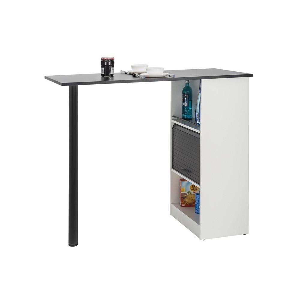 Table comptoir de cuisine Blanc/Noir rangement à rideau - Univers Cuisine : Tousmesmeubles