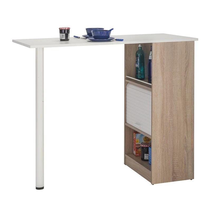 Table comptoir de cuisine Bois/Blanc rangement à rideau - Univers Cuisine : Tousmesmeubles