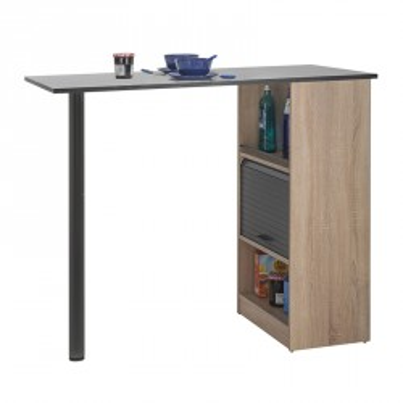 Table comptoir de cuisine Bois/Noir rangement à rideau - Univers Cuisine : Tousmesmesubles
