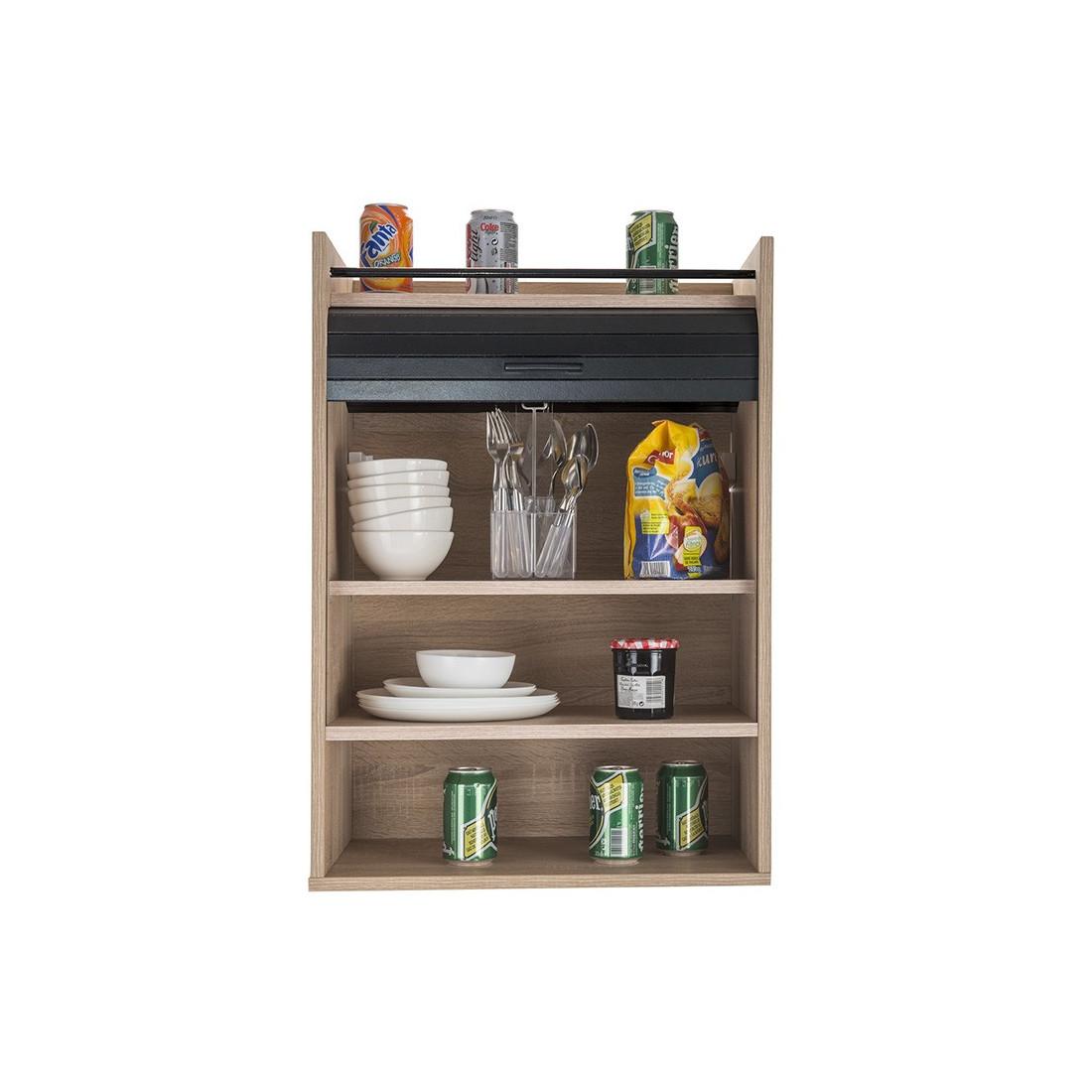 meuble rangement de cuisine rideau bois noir luke. Black Bedroom Furniture Sets. Home Design Ideas