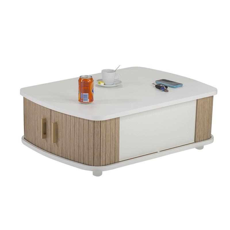 Table basse à rideaux Blanc/Bois rangement - Univers Salon : Tousmesmeubles