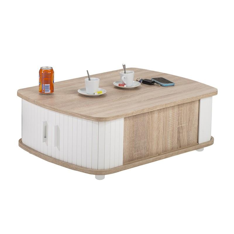 Table basse à rideaux Bois/Blanc rangement - Univers Salon : Tousmesmeubles